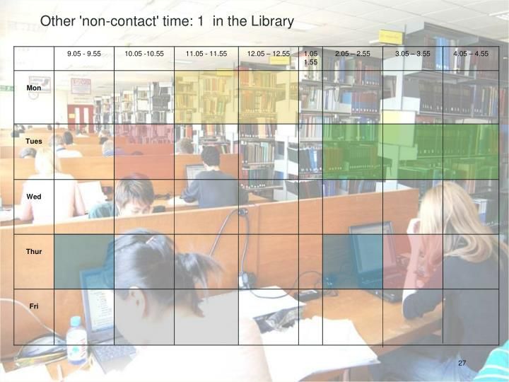Other 'non-contact' time: 1  in the Library