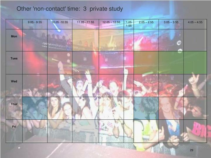 Other 'non-contact' time:  3  private study