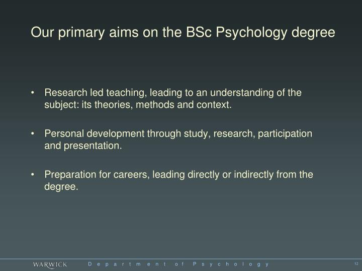 Our primary aims on the BSc Psychology degree
