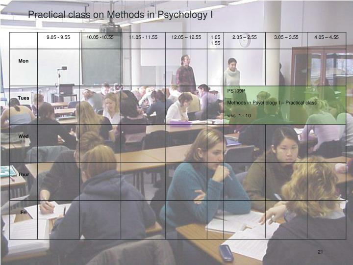 Practical class on Methods in Psychology I