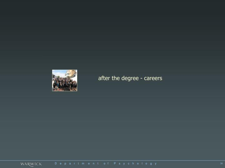 after the degree - careers