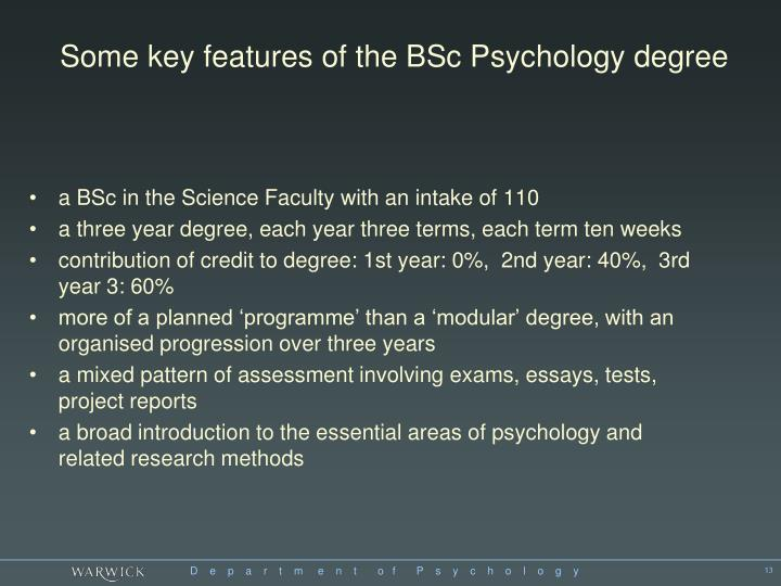 Some key features of the BSc Psychology degree