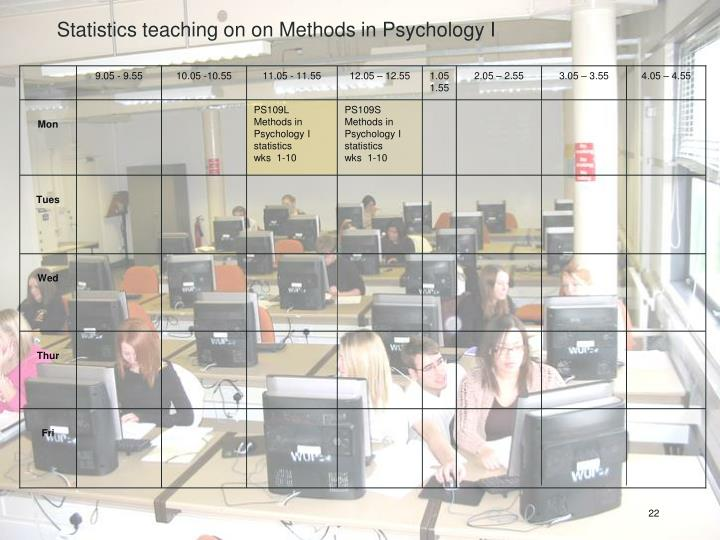 Statistics teaching on on Methods in Psychology I