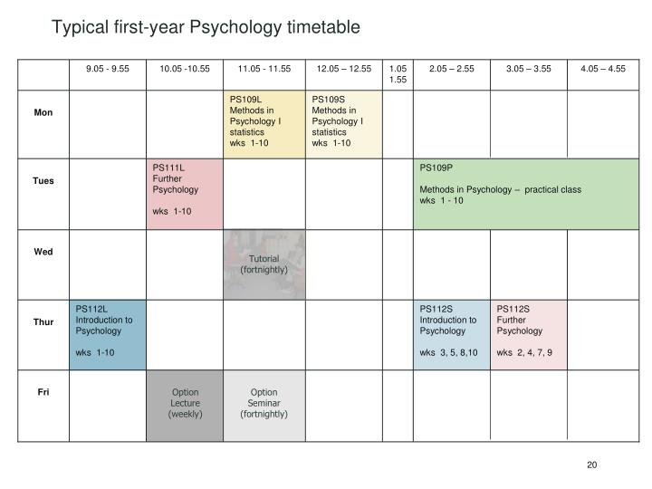 Typical first-year Psychology timetable
