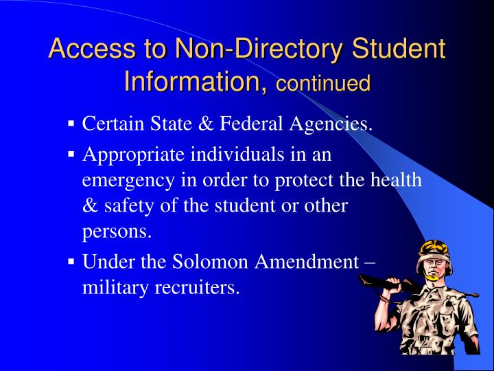 Access to Non-Directory Student Information,