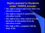 rights granted to students under ferpa include