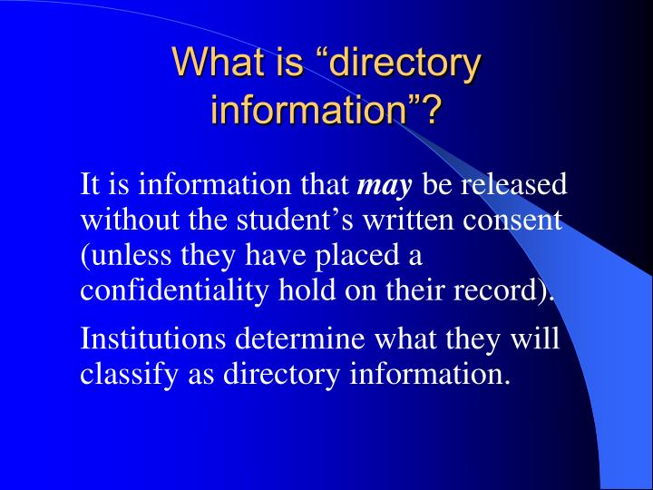 "What is ""directory information""?"