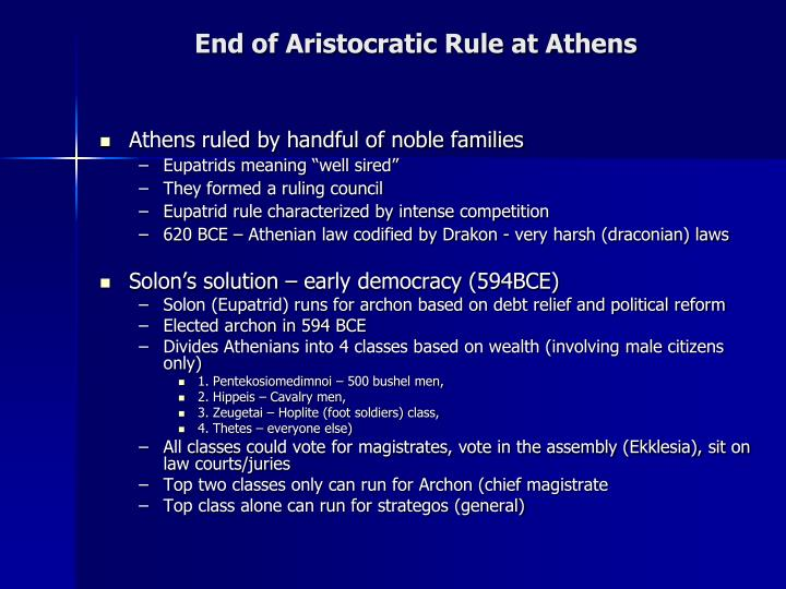 End of Aristocratic Rule at Athens