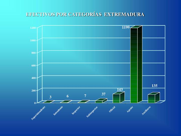 EFECTIVOS POR CATEGORÍAS  EXTREMADURA