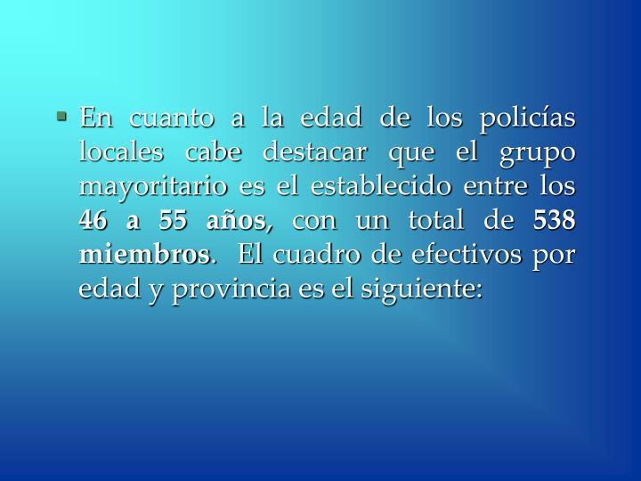 En cuanto a la edad de los policías locales cabe destacar que el grupo mayoritario es el establecido entre los