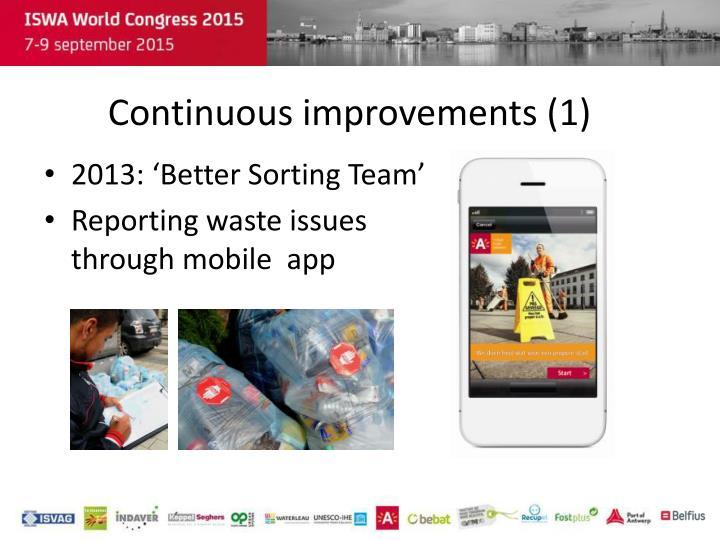 Continuous improvements (1)
