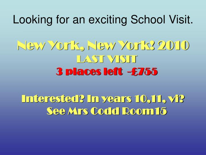 Looking for an exciting School Visit.