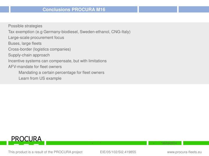 Conclusions PROCURA M16