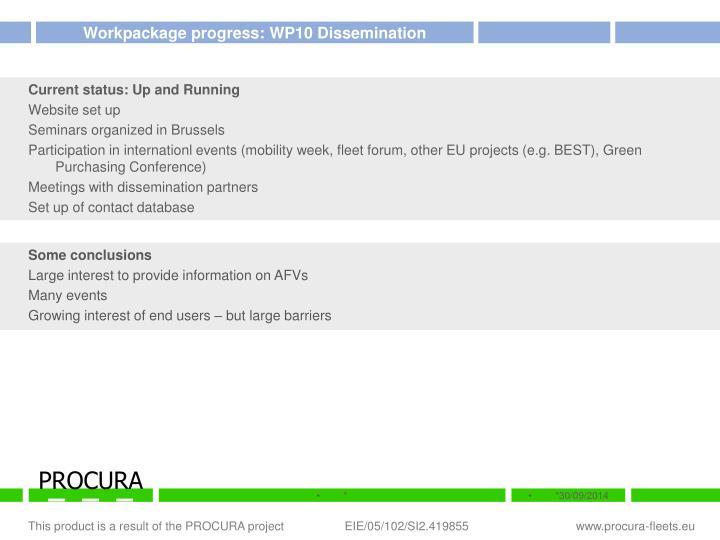 Workpackage progress: WP10 Dissemination
