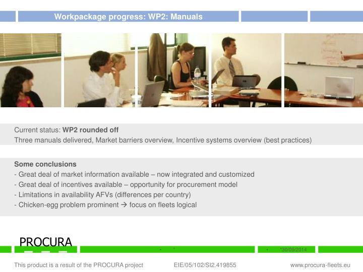 Workpackage progress: WP2: Manuals