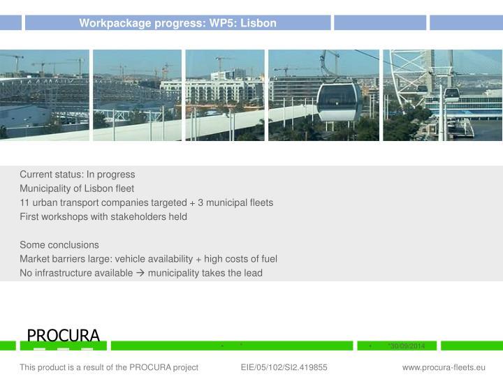 Workpackage progress: WP5: Lisbon