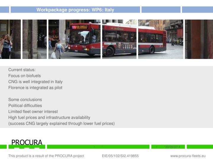 Workpackage progress: WP6: Italy