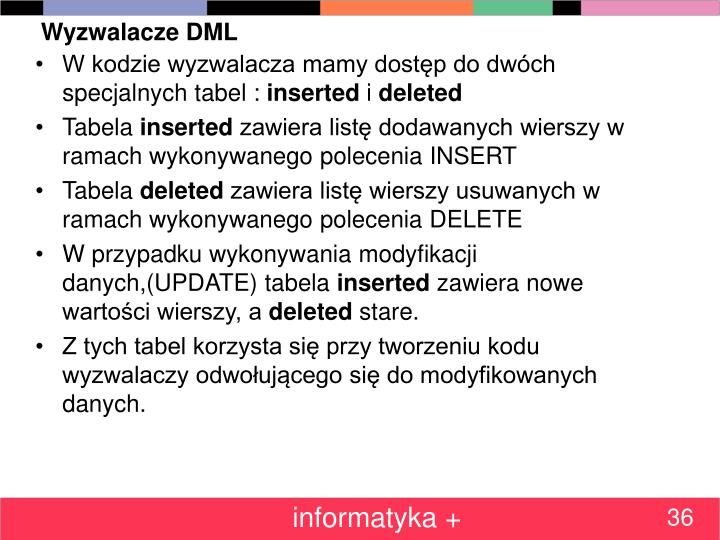 Wyzwalacze DML