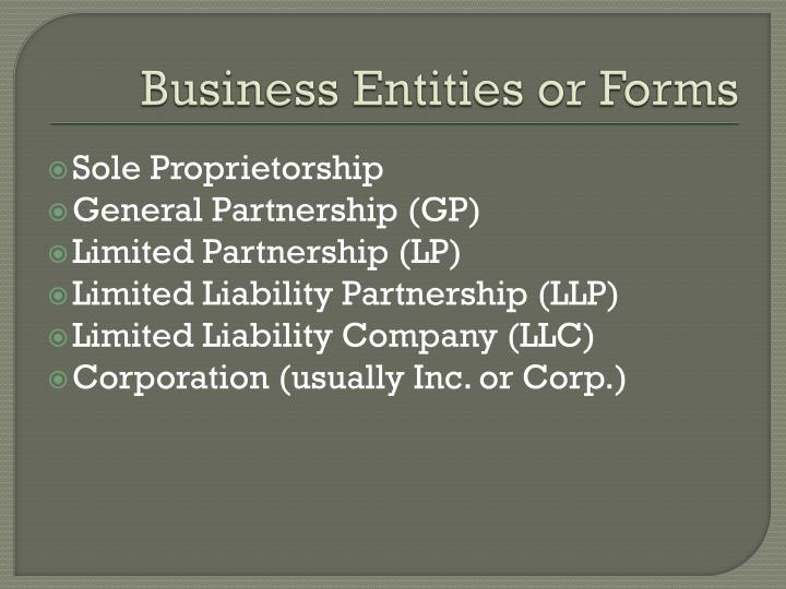 Business entities or forms