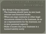 separation of business and personal affairs1