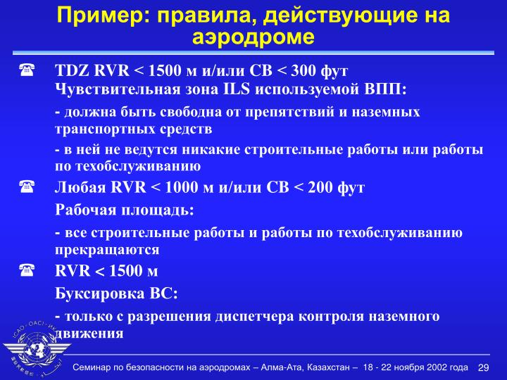 Пример: правила, действующие на аэродроме