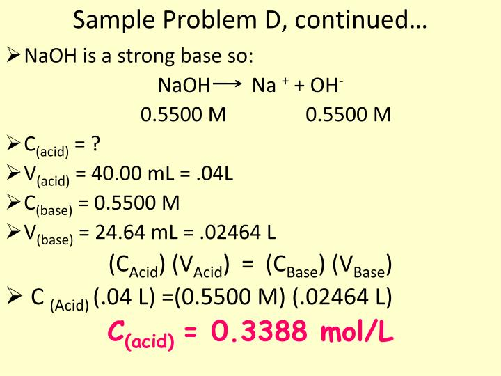 Sample Problem D, continued…