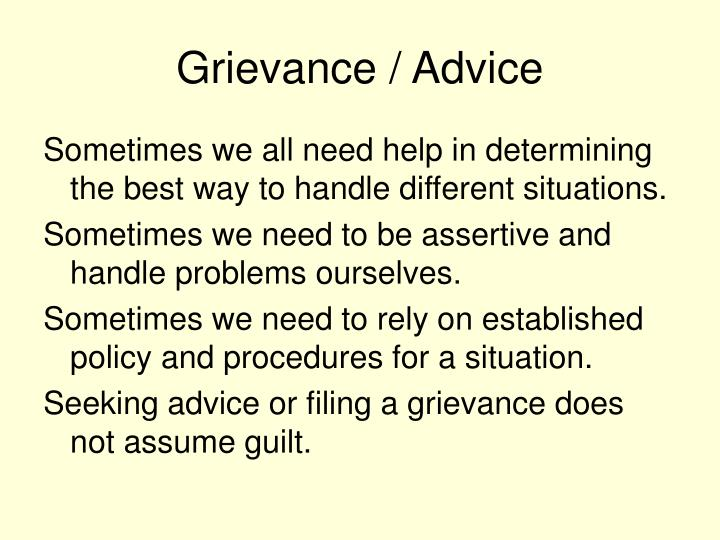 Grievance / Advice