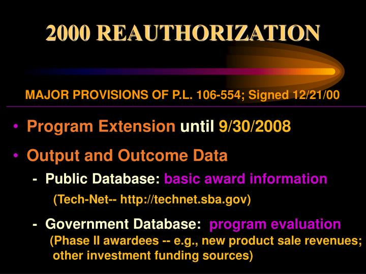 2000 REAUTHORIZATION