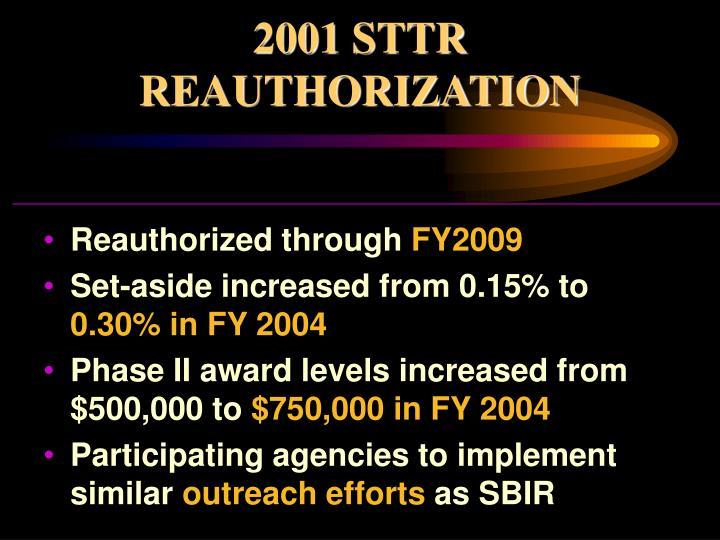 2001 STTR REAUTHORIZATION