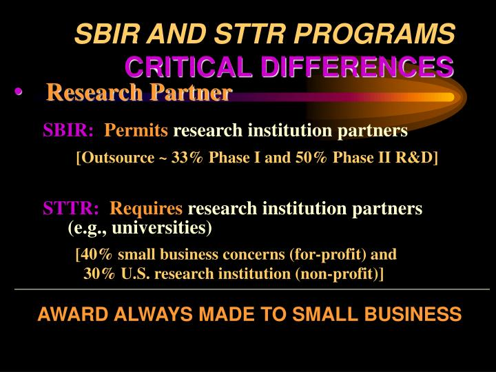 SBIR AND STTR PROGRAMS