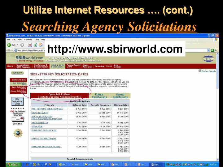 Utilize Internet Resources …. (cont.)