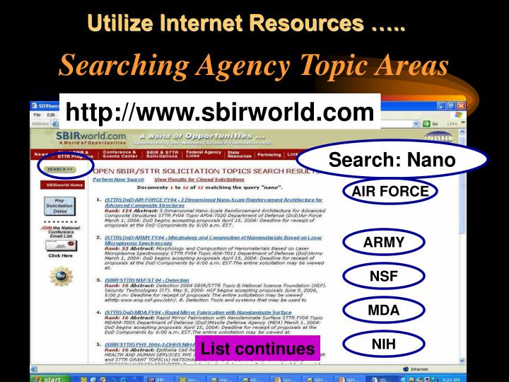 Utilize Internet Resources …..