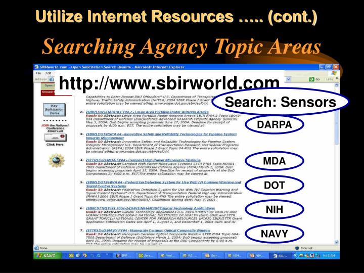 Utilize Internet Resources ….. (cont.)