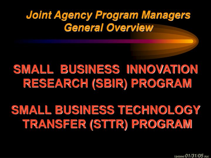 Joint Agency Program Managers