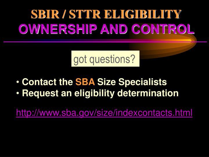 SBIR / STTR ELIGIBILITY
