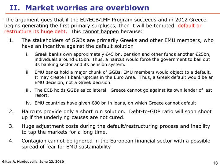 The argument goes that if the EU/ECB/IMF Program succeeds and in 2012 Greece begins generating the first primary surpluses, then it will be tempted