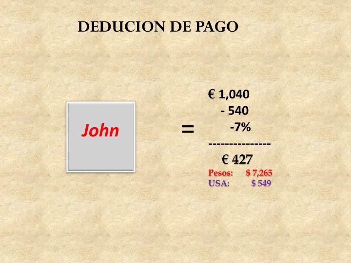 DEDUCION DE PAGO
