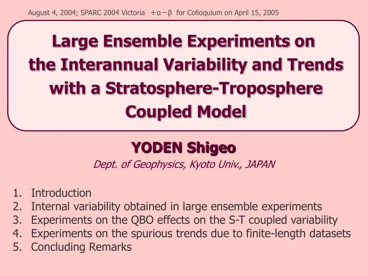 Yoden shigeo dept of geophysics kyoto univ japan