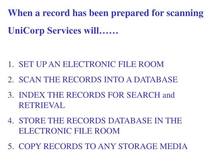 When a record has been prepared for scanning