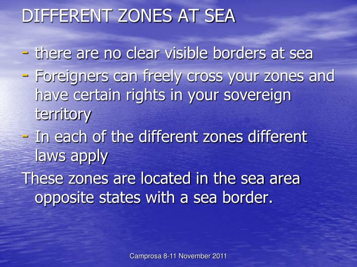 Different zones at sea