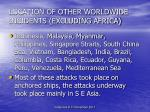 location of other worldwide incidents excluding africa