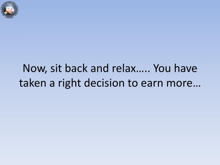 Now, sit back and relax….. You have taken a right decision to earn more…