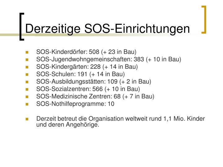 Derzeitige SOS-Einrichtungen