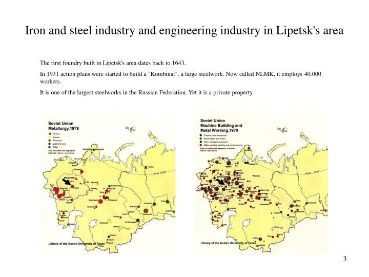 Iron and steel industry and engineering industry in lipetsk s area