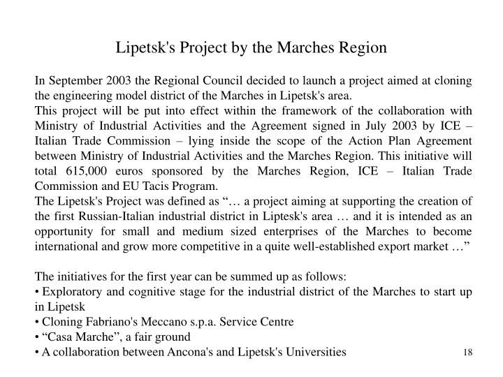 Lipetsk's Project by the Marches Region