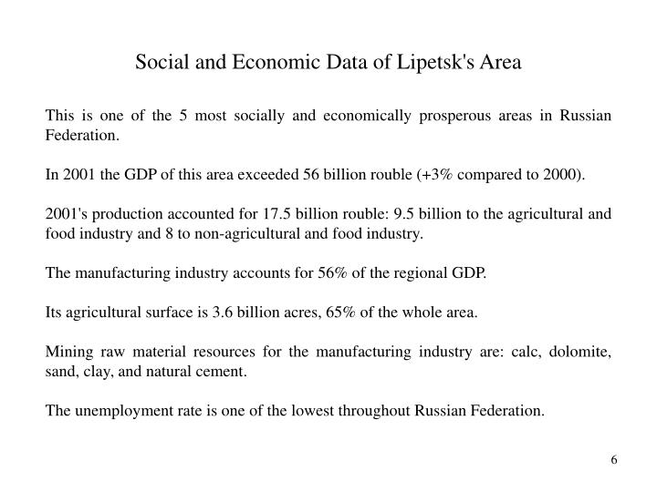 Social and Economic Data of Lipetsk's Area