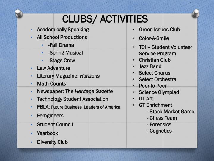 CLUBS/ ACTIVITIES