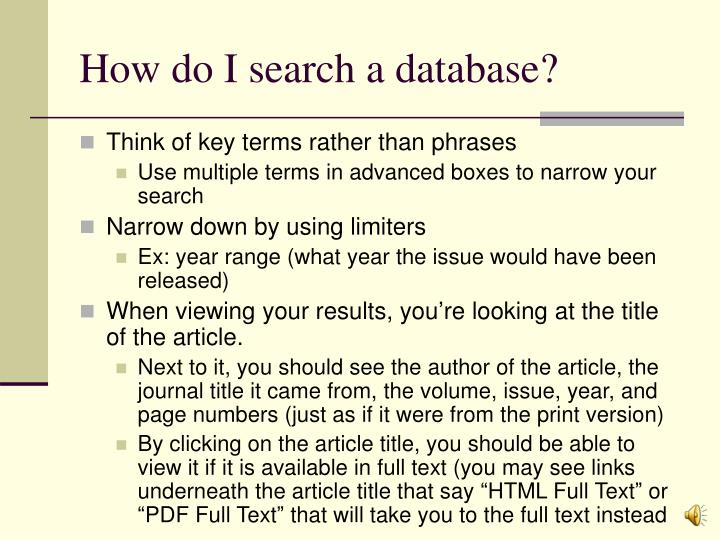 How do I search a database?