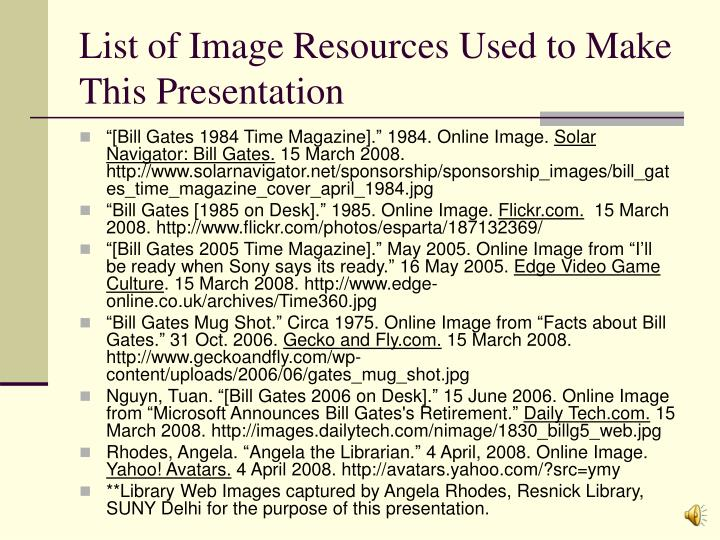 List of Image Resources Used to Make This Presentation