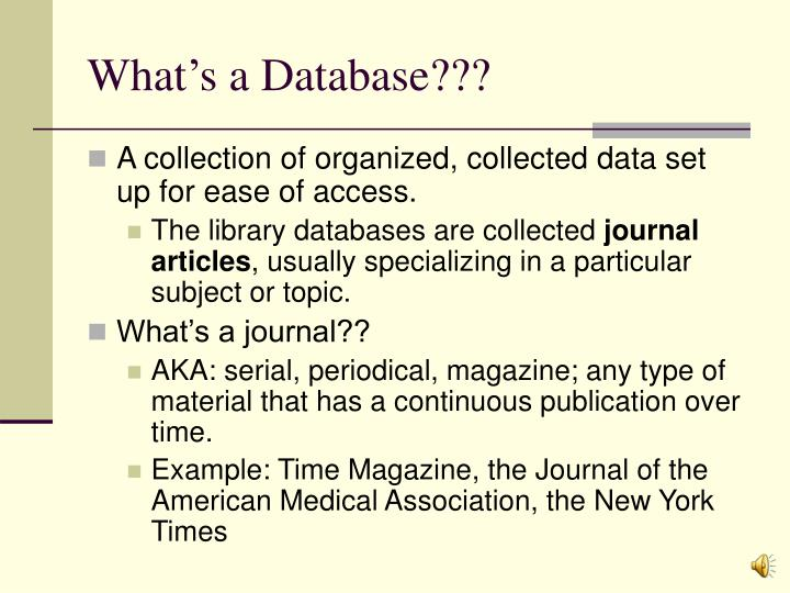 What s a database